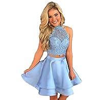 Libaosha diydressonline Satin Lace Halter Short Prom Dress Two Pieces Homecoming Dresses