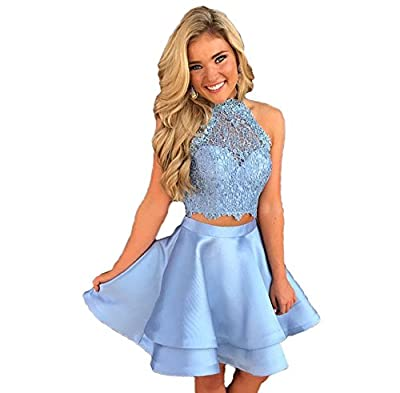 Libaosha diydressonline Satin Lace Halter Short Prom Dress Two Pieces Homecoming Dresses