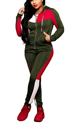 Bluewolfsea Women's 2 Piece Outfits Pants Set Striped Colorblock Sweatsuits Long Sleeve Hooded Jogging Suit Large Green