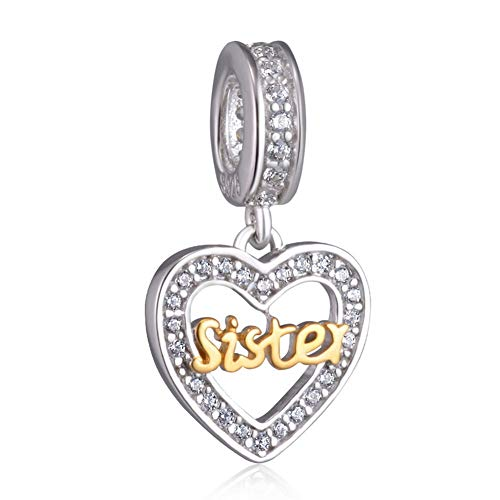 Sister Love Heart Bracelet Charms for Women - 925 Sterling Silver Dangle/Dangling Pendants/Beads - Fit Pandora Charm Bracelets, Necklaces, European Snake Chains - Birthday/Thanksgiving Gifts.