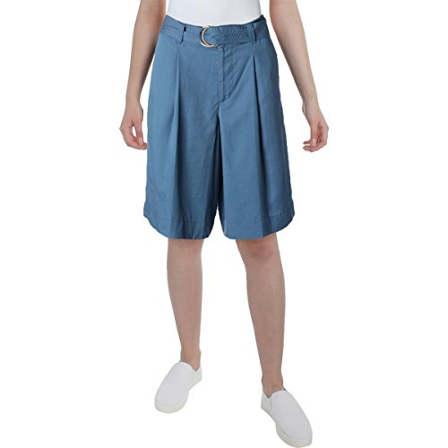 Womens Pleated Twill Shorts - Lauren Ralph Lauren Womens Petites Twill Pleated Shorts Blue 2P
