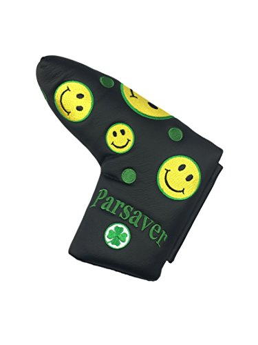 Smiley Face Fun Putter Cover - by Parsaver - Happy Smile Black Head Cover for Odyssey Scotty Cameron Taylormade Titleist Ping and Mizuno Putters. A Wonderful Golf Gift (Cover See Putter More)