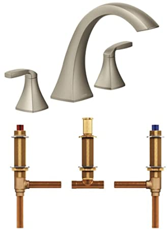 Moen Roman Tub Faucet Brushed Nickel. Moen T693BN 4792 Voss Two Handle High Arc Roman Tub Faucet with Valve