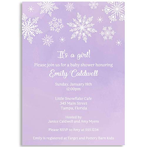 Winter Wonderland, Baby Shower Invitations, Purple, Baby Shower, Snowflakes, Snowfall, White, Winter, Girl Shower, Sprinkle, It's A Girl, Winter Baby, 10 Pack Printed Invites with White Envelopes]()