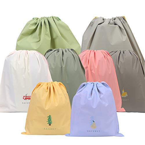 Luggage Organizer Bag,ZERHOK 8pcs Travel Essential Bags-in Bag Waterproof Drawstring Pouch Dirty Dry Clothes Bag Cord Bag Shoe Pouch for Gym Sport Outdoor Swim Holiday