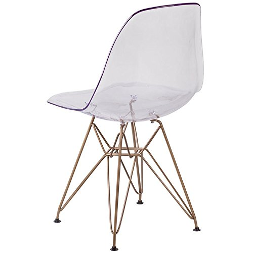 Flash Furniture Elon Series Ghost Chair with Gold Metal Base by Flash Furniture (Image #3)