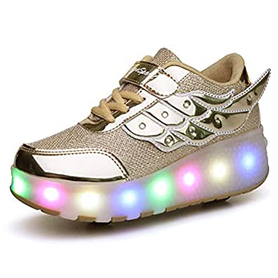 Ufatansy Uforme Kids Wheelies Lightweight Fashion Sneakers LED Light Up Shoes Single Wheel Double Wheels Roller Skate Shoes Size: 1 Little Kid
