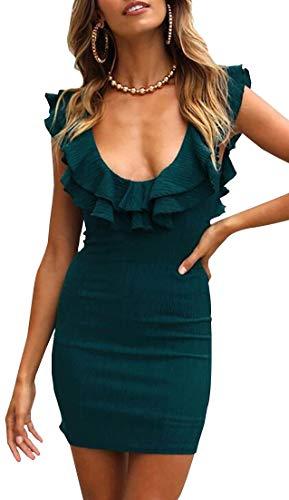 Femminile Partito Collo Volant Ainr Verde Elegante Quadrato Maniche Volant Vestito Midi Senza Di Sera Bodycon Del atwq65w71