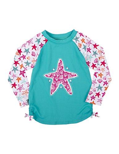 Hatley Little Girls' Long Sleeve Rash Guards, Starfish, 5 Years
