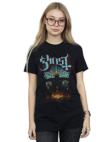 Absolute Cult Ghost Women's Meliora Cover Boyfriend Fit T-Shirt Black Medium from Absolute Cult