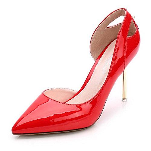 AalarDom Mujer Material Suave Sólido Sin cordones Puntera en Punta Tacón de aguja De salón Rojo
