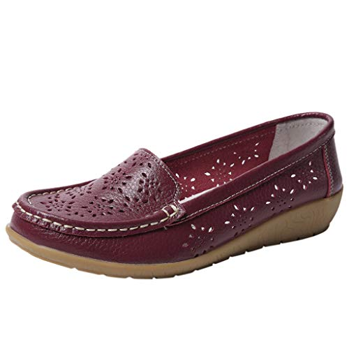 - Haalife◕‿Women Soft Sole Loafers Women's Leather Loafers Moccasins Wild Driving Casual Flats Oxfords Breathable Shoes Wine