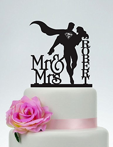 Wedding Cake Topper,Mr and Mrs Cake Topper With last name,Superman and Bride Cake Topper,Custom Cake Topper,Super Hero Wedding C132 ()