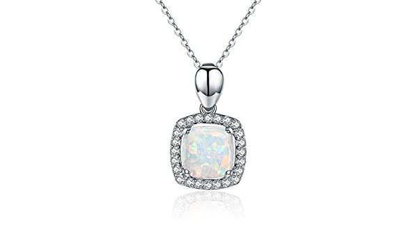 CS-DB Jewelry Silver Classical Square Opal Stone Chain Charm Pendants Necklaces
