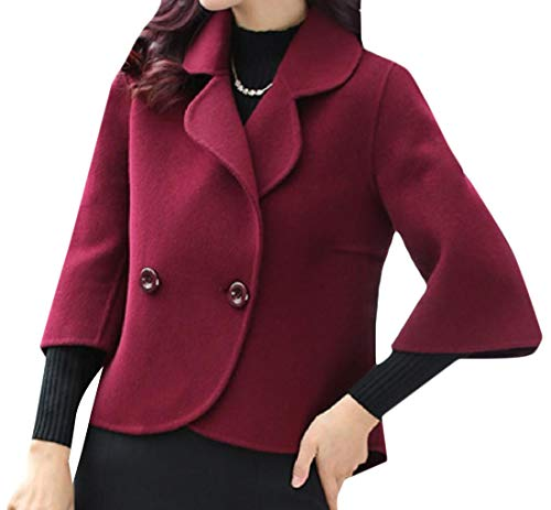 Fashion Con Breast Vino 3 Aderente Collo A Rosso Double Women Fit Rkbaoye Lunghezza 4 Risvolto p5fCxRwfq