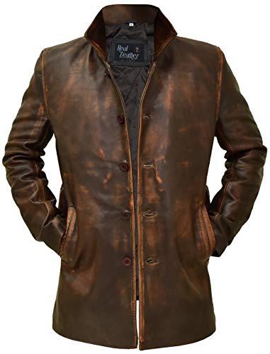 Brown Leather Jacket Men - Super Natural Distressed Leather Jackets for Men (Distressed Brown - Super Natural Dean Winchester Jacket Men, 2XL/Body Chest 46