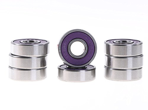 Mini Skater Abec 9 Precision 608 ZZ Bearings for Longboards and Skateboards (8pcs,Purple)