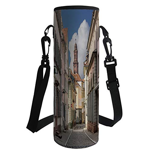 iPrint Water Bottle Sleeve Neoprene Bottle Cover,European,Heidelberg Old City Streets Picturesque Town with Medieval Architect Panorama Decorative,Multicolor,Fit for Most of Water Bottles by iPrint