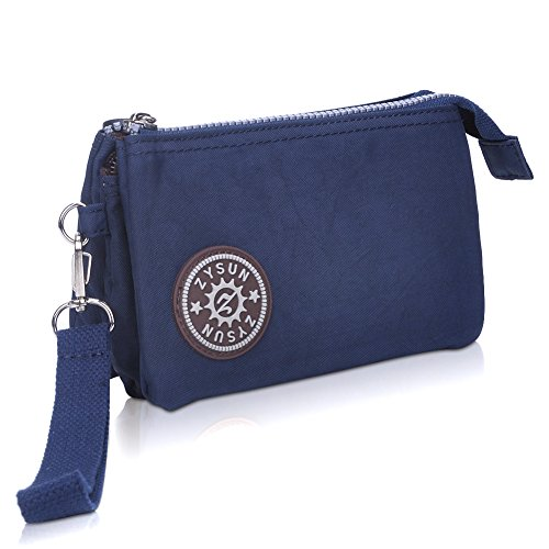 ZYSUN Womens Nylon Small Little Clutch Card Money Handbag Purse Wristlet Bag(605,blue)