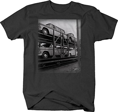 Chevy C10 Train Railcar Delivering Trucks Cars 1960's Vintage Tshirt - XLarge