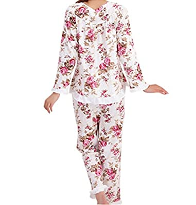 Tubaozi Women Cotton Floral Print Long Sleeve Nightgown Pants Pajamas Set M-3XL