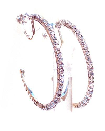 Clip-on Earrings Silver Tone Crystal Hoop Earrings 2 Inch Clip Hoop Earrings for Non Pierced Ears - Rhinestone Hoop Pierced Earrings