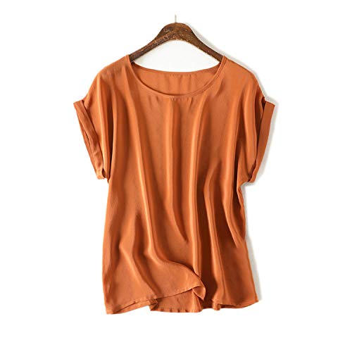 Women Real Silk T Shirt Short Sleeved Candy Color Chiffon Loose Shirt Plus Size 2019,Sand,XXL