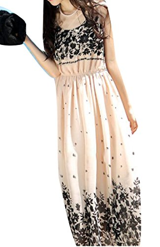 Neck Apricot Beach Coolred Sun Sleeveless Dresses Women Round Floral Print xCCA1fq