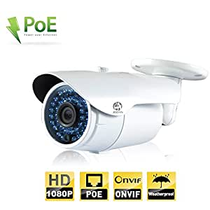 Security Camera, JOOAN 1080P POE(Power Over Ethernet) IP Camera Surveillance Outdoor Network Surveillance Cameras Bullet Type for Home Security -White