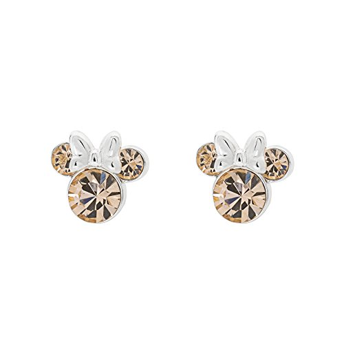 (Disney Women's Jewelry Minnie Mouse Silver Plated Brass June Birthstone Stud Earrings Mickey's 90th Birthday Anniversary)