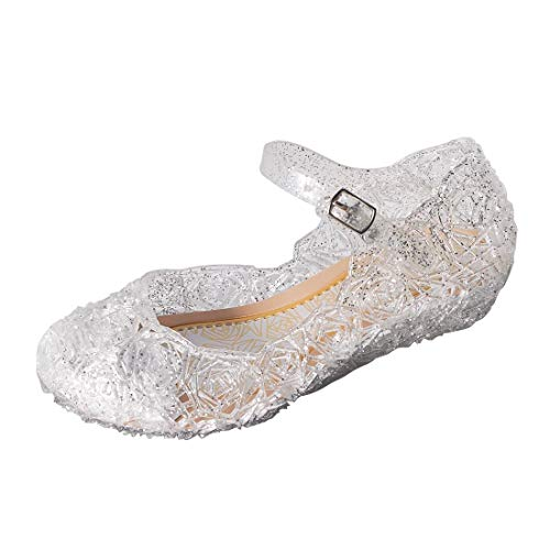 ON Princess Girls Queen Dress Up Cosplay Jelly Shoes for Kids Toddler Dance Party Sandals Mary Janes White]()