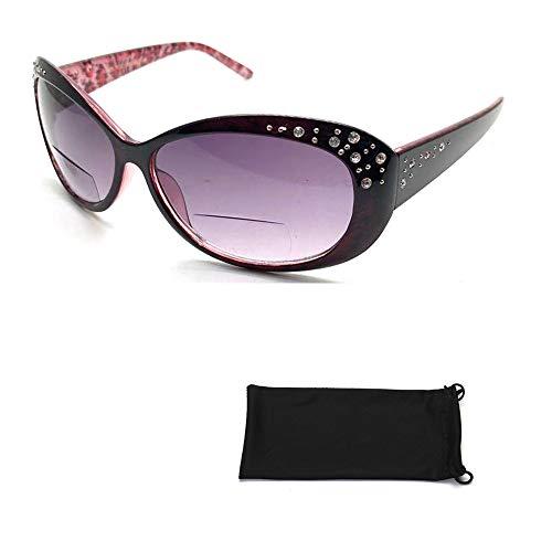 Beautiful Women's Rhinestone Bifocal Sun Readers Reading + Sunglasses All In One (Brown, 2.25) (Glasses Brown Rhinestone Reading)