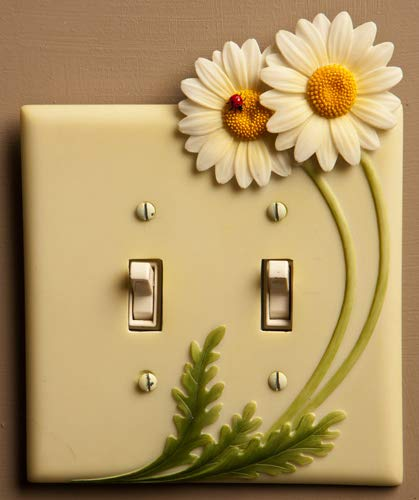 Daisies & Ladybug - Hand Painted Double Switchplate Cover - Double Pole Style - Ibis & Orchid ()