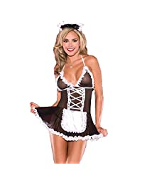 Sexy Maid Dress Skirt Transparent Gauze Lingerie Adult Role Play Outfit Sets