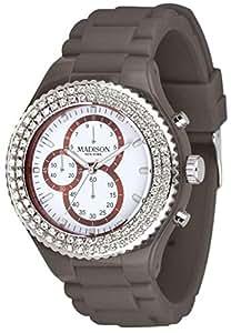 Madison New York Ladies White Chronograph Grey Rubber Band Watch [U4398-08]