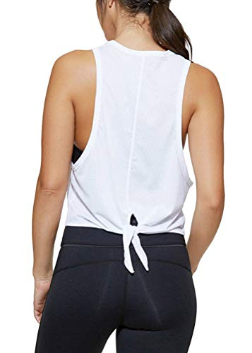 Mippo Women's Summer Workout Mesh Crop Tops Fashion Yoga Tops Workout Clothes Racerback Lightweight Muscle Tank Cool Fitness Running Sport Shirt with Arm Hole White L