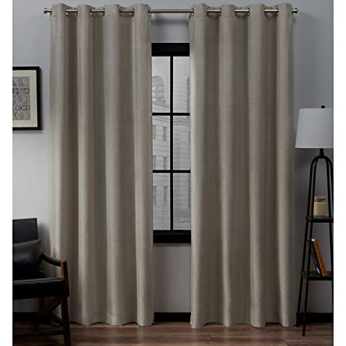 Exclusive Home Curtains Loha Linen Window Curtain Panel Pair with Grommet Top, 54x84, Beige, 2 Piece