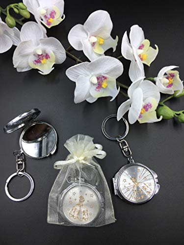 (12) New Quinceañera Recuerdos. My Sweet 15 Princess Celebration Gifts Silver/Gold Plate Mirror Keychain Party Favor Set With Organza Bags]()