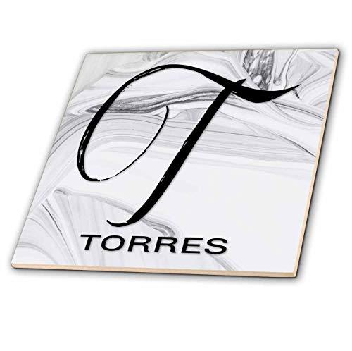 (3dRose BrooklynMeme Monograms - White Marble Monogram T - Torres - 8 Inch Glass Tile (ct_310114_7))
