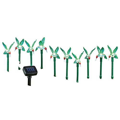 Collections Etc Hummingbird Outdoor Solar Path Yard Stakes, Set of (Hummingbird Collection 1 Light)