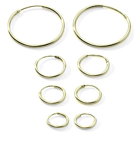 4-Pairs Cartilage/Nose/Lips Sterling Silver 925 Small Endless Hoop Earrings 10mm, 12mm, 14mm & 20mm by Regetta Jewelry