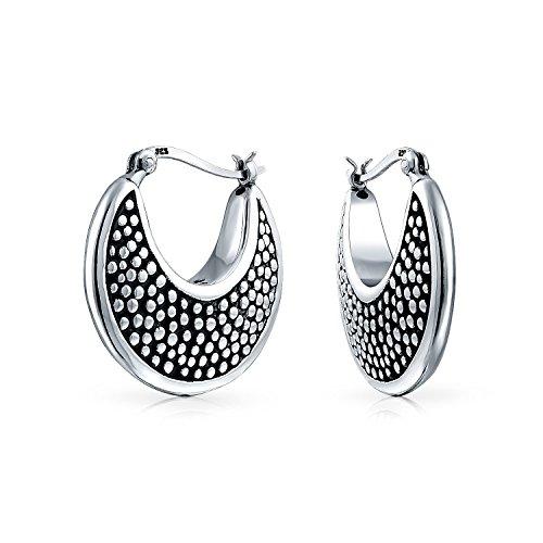 - Bali Style Hollow Lightweight Crescent Moon Shaped Boho Caviar Hoop Earrings For Women Oxidized 925 Sterling Silver