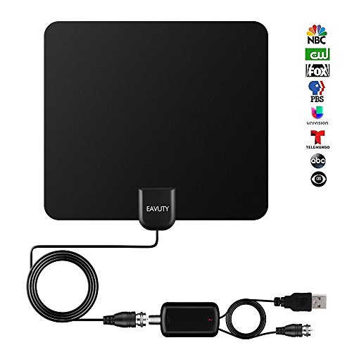 120+ Miles Long Range HDTV Antenna, Newest 2019 Indoor Digital TV Antenna with Detachable Amplifier Signal Booster, 13.5FT High Performance Coax Cable, Support Off Air Connection