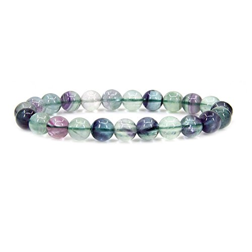 Amandastone Natural Multicolor Fluorite Gemstone 8mm Round Beads Stretch Bracelet 7