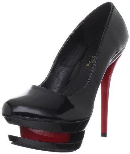 Pleaser Damen Blondie-685 Geschlossene Sandalen, 36 EU Noir (Blk Pat/Blk-Red)