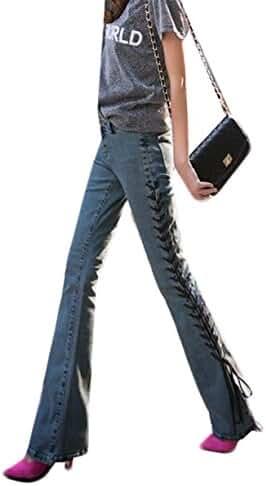 LD Womans Retro Slim Fit Low Waist Wide-leg Denim Jeans Pants
