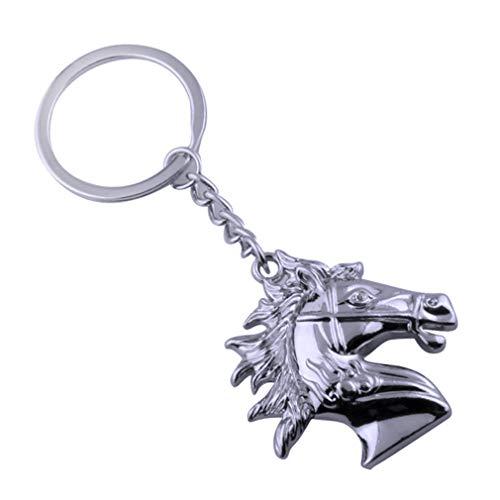 HXL Keychain,Horse Head Key Chain/Unisex Personality Keyring/Creative Fashion Pendant/Vintage Pants Chain/Waist Ornament/Gift (Color : Chrome) ()