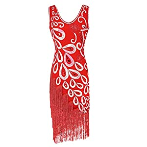 Hapae Gatsby 1920s Flapper Dress Women Vintage Sequin Fringe Beaded Art Deco Fancy Dress for Party Prom Sleeveless Strap Gown Evening Dresses Plus Size