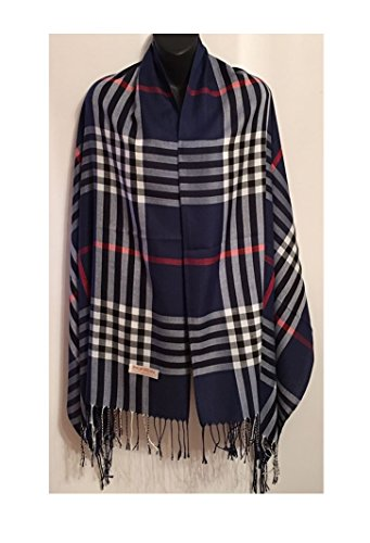Easy-W Navy Blue_76'' x 28'' Scarf Plaid Checker Long Soft Stole Shawl Wrap Cape Scarf by Easy-W