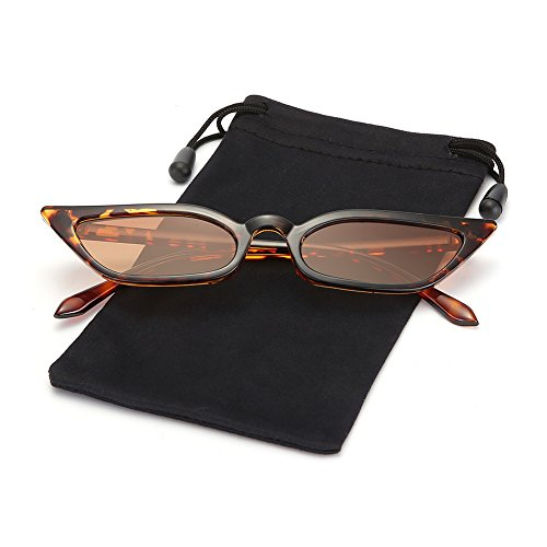 Retro Vintage Women Slim Cateye Flat Sunglasses Tinted Lens Shades LOOKEYE, Leopard Frame and Brown Lens